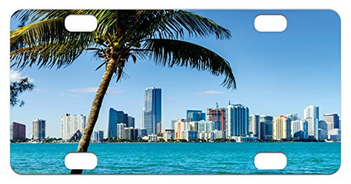 Coastal Mini License Plate by Lunarable, Miami Downtown with Biscayne Bay Buildings and Palm Tree Panoramic Art, High Gloss Aluminum Novelty Plate, 2.94 L x 5.88 W Inches, Sky Blue - Side Bay Miami