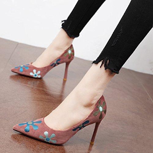 Xue Xue Xue Qiqi Court Schuhe Retro Girls High Heels und Edler Stickerei Blaumen und Vielseitige Licht - Feine Spitze mit Einzelne Schuhe a420c2