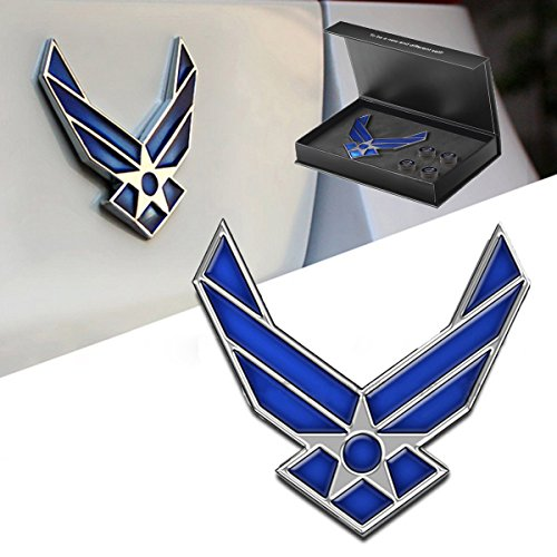 Dsycar 3D Metal Blue Wing US Air Force Premium Car Body Side Fender Rear Trunk Emblem Badge - Gift 4 Free Air Force Logo Tire Valve Stem Caps