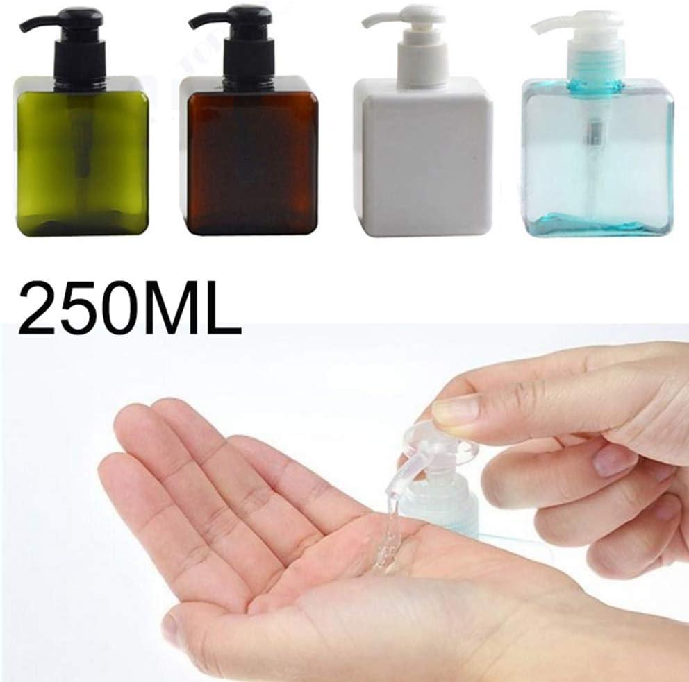 MZY1188 Botella de Viaje Recargable de 250 ml: Botella de loción Cuadrada, Botellas de Bomba portátiles, Botella de champú, desinfectante para Manos, Botella de presión, Botella cosmética
