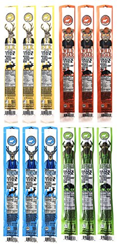 Pearson Ranch Assorted Grass Fed Game Meat Snack Sticks - Variety Pack of 12 - (1oz Sticks, 3 Each) - Elk, Buffalo, Venison, Wild Boar Game Jerky - Gluten-Free, MSG-Free, Keto and Paleo Friendly
