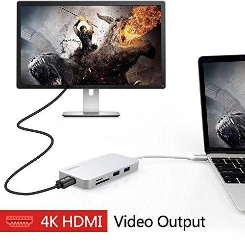 Lenovo USB C Hub, Type C Hub Adapter 3 1 with USB C Charging