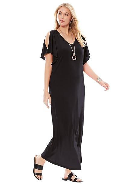 1577dc1fe94 Jessica London Women s Plus Size Travel Knit Cold Shoulder Maxi Dress -  Black