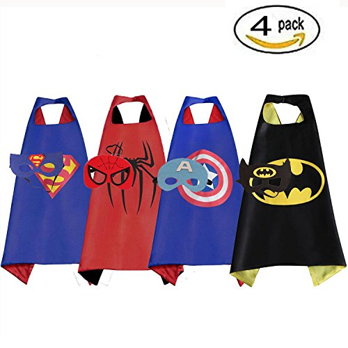 RioRand  Cartoon Dress up Costumes Satin Capes with Felt Masks for Boys (Set of 4)