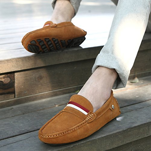 SUNROLAN Mens Multi-color Causal Slip-on Driving Loafers Moccasin Dress Shoes Xr5132 8317-Light Brown 6MfH2j
