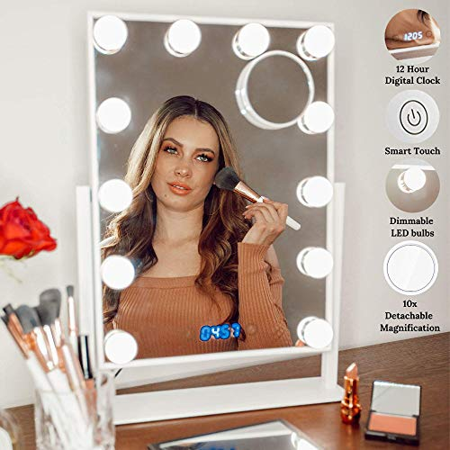 Estala Makeup Vanity Mirror with Lights - Hollywood Vanity Mirror & Lighted Makeup Table Set with Smart Touch Dimmable & Adjustable LED Lights & Digital Clock - Free eBook (White) (Broadway Lighted Vanity Makeup Mirror & Desk Set)