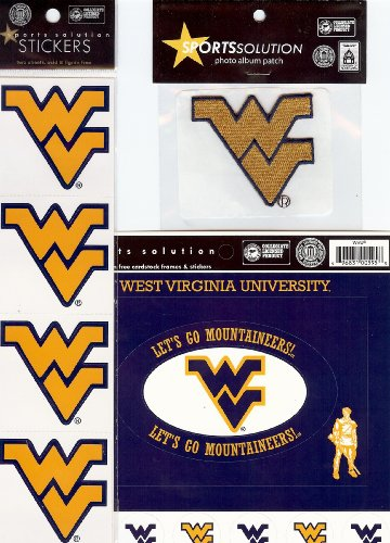 Frames Die Cuts Cardstock - Sports Solution West Virginia University Mountaineers 19 Piece Custom Package of Officially Licensed Collegiate Stickers, Cardstock Frames, Die Cuts & Embroidered Adhesive Patch
