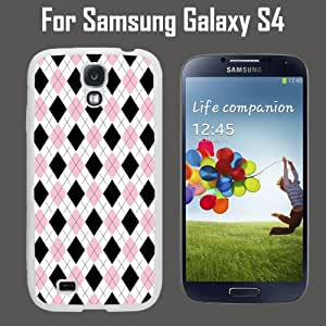 Black Pink Argyle Pattern Custom Case/ Cover/Skin *NEW* Case for Samsung Galaxy S4 - White - Rubber Case (Ships from CA) Custom Protective Case , Design Case-ATT Verizon T-mobile Sprint ,Friendly Packaging - Slim Case