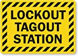 Lockout Tagout Station (With Striped Border) Sign, 10'' x 7''