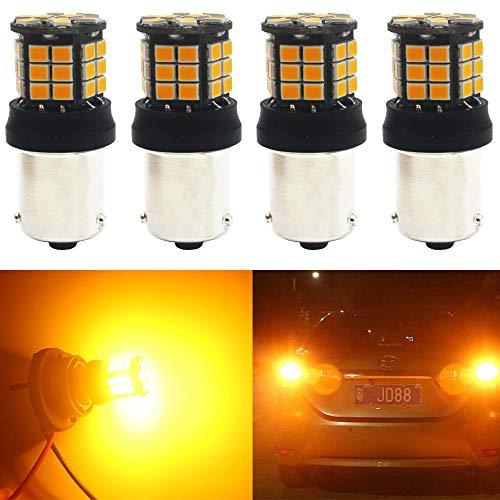 AMAZENAR 4-Pack 1056 BAU15S 7507 12496 1156PY PY21W RY10W Extremely Bright Amber//Yellow Non-Polarity 2835 15SMD LED Turn Signal Light Blink Bulb 9V-18V