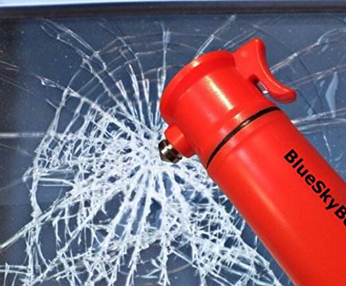 BlueSkyBos Orange 6-in-1 Emergency Tool Auto Car Safety Escape Hammer Seat Belt Cutter Flashing Beacon Alarm Siren LED Flashlight