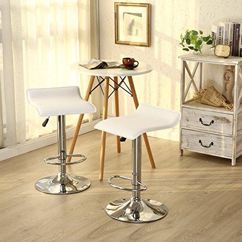 Allura Pair Bombo Chair Modern Bar Stools PU Leather Adjustable Hydraulic Swivel Seat Stool Pub Cafe Coffeehouse Kitchen Dinning Chair Barstool | White