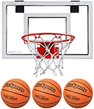 GoSports Basketball Door Hoop with 3 Premium Basketballs & Pump - Standard