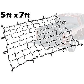 5ft x 7ft PowerTye Mfg Truck & Trailer Large Elastic Cargo Net with 14 Adjustable Hooks, Black Net