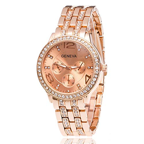 (Womens Geneva Alloy Band Quartz Watches Luxury Unisex Crystal Wrist Watch Gold Rose Gold Silver)