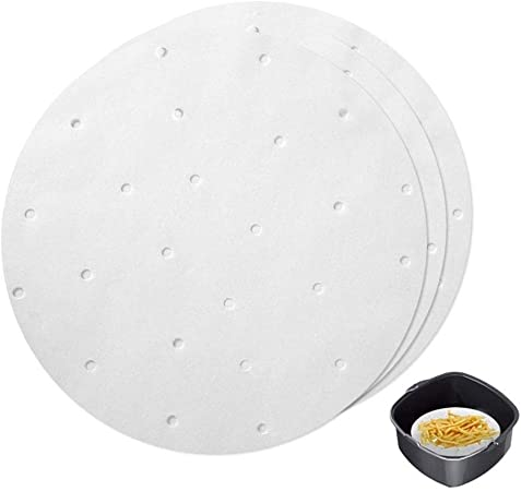 100pcs Air Fryer Liners Paper,KEYI Perforated Parchment Paper for Air Fryer and Steaming Basket