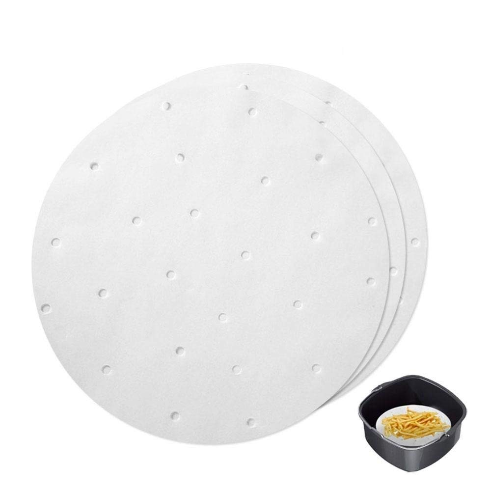 100 PCS Perforated Parchment Paper - Aolvo 9 Non-Stick Air Fryer Liners Steaming Paper Baking Sheet for Air Fryers Bamboo Steamer Basket Cake Pans Dumpling Baking Cooking, Food Grade&BPA Free, Round