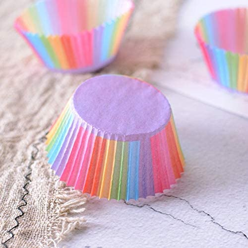 ghfcffdghrdshdfh Rainbow Color Cupcake Liner Cupcake Paper Baking Cases Cake Molds Pastry Cup