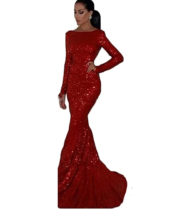 Amazon.com: PinkMemory Long Sleeves Backless Red Sequin Prom Dress ...