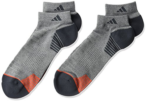 adidas Mens Superlite Prime Mesh Low Cut Socks (2-Pack), Vista Grey/Dark Grey/Red, Large