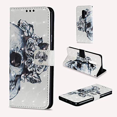 "NVWA Compatible Apple iPhone Xs Max Case 6.5"" 2018 New Phone PU Leather Wallet Flip Full Body Protective Phone Cover with Credit Card Slot Wrist Strap Magnetic Closure Stand Accessories Skull Flower"