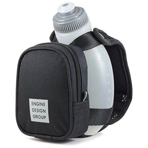 ENGINE DESIGN GROUP NGN – Running Water Bottle Handheld Hydration Bottle Pack with Zippered Pocket – 10 oz Black