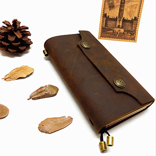 SUSOKI VintageGenuine Leather Journal Writing Notebook - Small Portable Handmade Leather Bound Daily Notepad with Button Closure for Writing, Notes, Travel Diary, Art Sketchbook, Gifts(Brown)