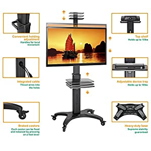 """North Bayou Mobile TV Cart TV STAND with Mount for 32"""" - 65 inch LED LCD Plasma Flat Panel Screens and Displays Aluminum Alloy Black AVF1500-50-1P"""