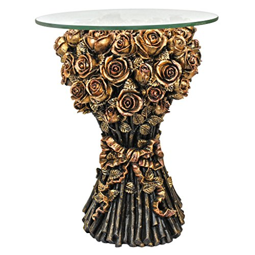 Bountiful Rose Bouquet - Design Toscano EU9358 Roses Glass Topped Sculptural Table