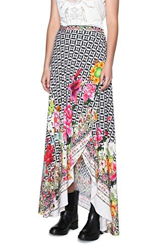Desigual Women's 18Swfw20blackwhite White/Black Viscose Skirt by Desigual