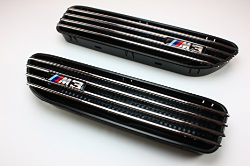 (Black Side Fender Grille Grill Vents with Chrome Fin for BMW E46 M3)