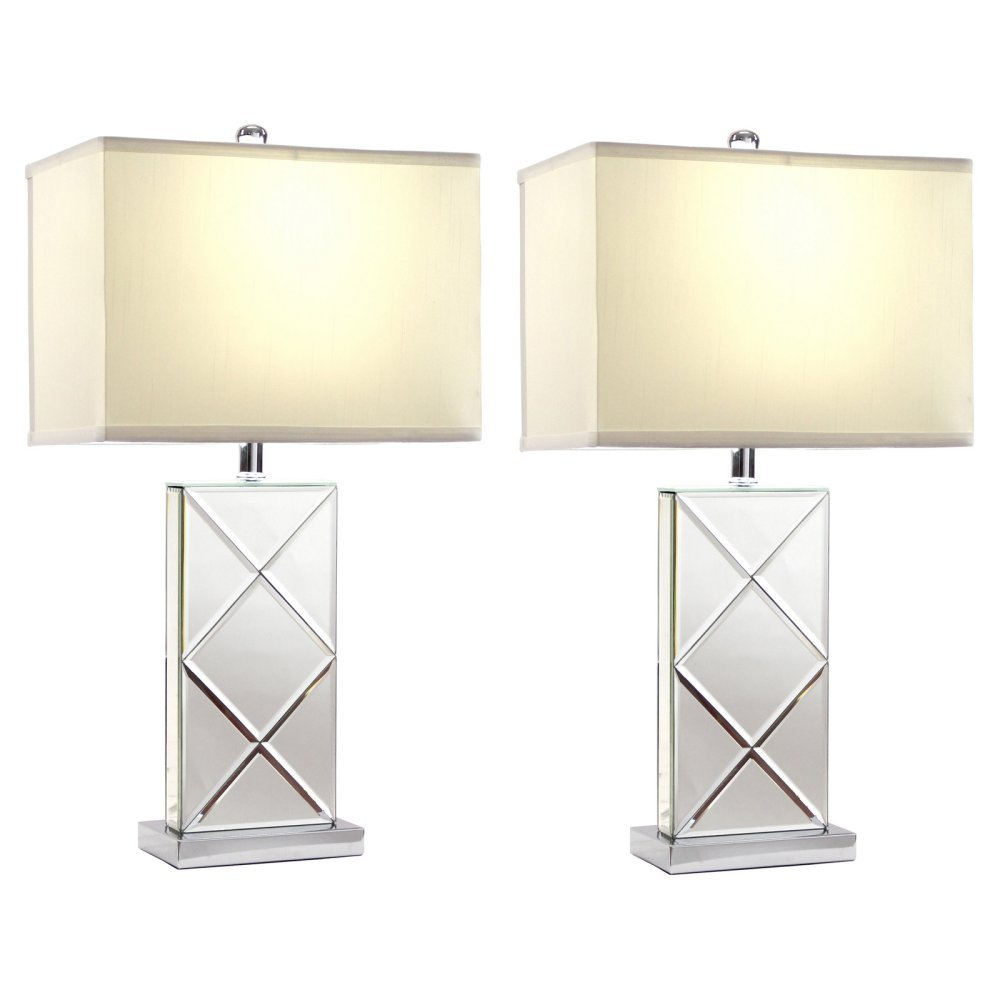 Aspire Rory Mirrored Table Lamp (Set of 2), Silver