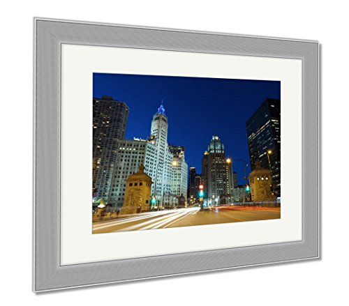 Ashley Framed Prints Michigan Avenue In Chicago, Wall Art Home Decoration, Color, 30x35 (frame size), Silver Frame, - On Avenue Chicago Michigan Shops