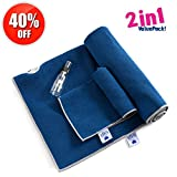 """Yoga Towel by IUGA, Extra Thick Hot Yoga Towel + Hand Towel 2 in 1 Set, Corner Pockets Design to Prevent Bunching, 100% Microfiber – Non Slip, Super Absorbent and Quick Dry, Extra Large 72'x26"""" Blue"""