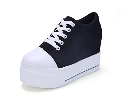 f0c598e7893 Womens Increased Within Shoes Wedge Platform Sneaker Lace Up Canvas(Black