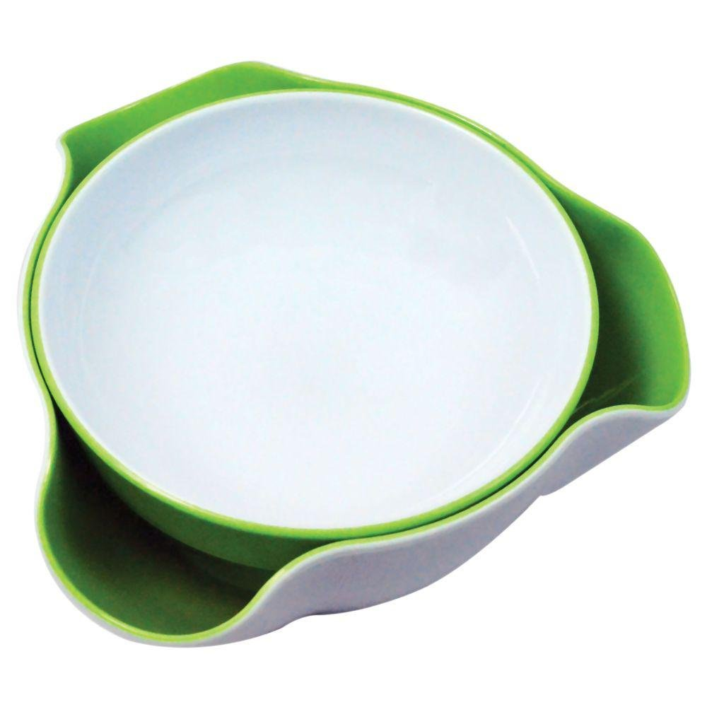 Double Dish Pistachio Snack Serving Nut Bowl BPA Free Green and White Prime Income 7240