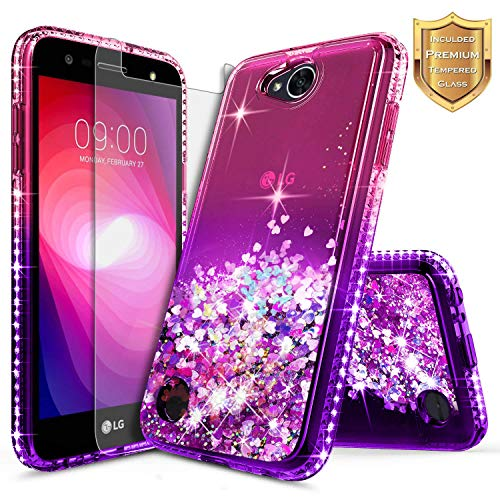 LG Fiesta 2 Case, LG X Power 2 / LG Fiesta LTE / K10 Power Case w/ [Tempered Glass Screen Protector], NageBee Quicksand Liquid Floating Glitter Flowing Sparkle Bling Diamond Luxury Case - Pink/Purple