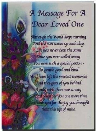 Tumba tarjeta - un mensaje para un Dear un ser querido - incluye ...