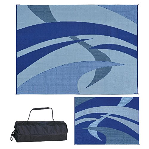 (Reversible Mats 159123 Outdoor Patio / RV Camping Mat - Swirl (Blue/Black/Grey, 9-Feet x 12-Feet))