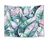 LB Banana Leaves Tapestry Palm Leaf Tapestry Wall Hanging Watercolor Tropical Jungle Plant Foliage Wall Blanket for Bedroom Living Room Dorm Wall Decor,60 W X 40 H inch