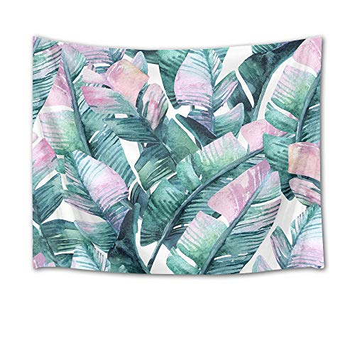 Spring Foliage - LB Banana Leaves Tapestry Watercolor Palm Leaf Wall Hanging Tropical Exotic Foliage in Jungle Tapestries for Bedroom Living Room Dorm Party Wall Decor,80Wx60H inches