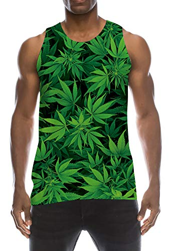 Funny Digital Printing Sleeveless Tank Top Ribbed Surf Yoga Sports Workout Tees Shirt Mint Green Leaf 1990s Round Neckline Brilliant Tanks Men's Clothing for Male Big Young Mens Junior ()