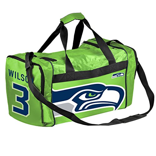 FOCO Seattle Seahawks Wilson R. #3 Core Duffle Bag - Lime Green by FOCO
