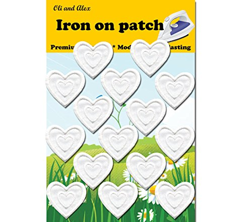 - Iron On Patches - White Heart Patch 15 pcs Iron On Patch Embroidered Applique 1.29 x 1.22 inches (3.2 x 3.1 cm) A-74
