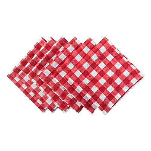 DII 100% Polyester, Spill Proof, Machine Washable, Outdoor Use 20x20 Napkin, Set of 6, Red Check, 20 x 20