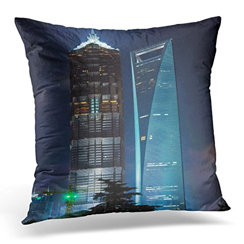 (Emvency Throw Pillow Cover Blue City China Shanghai Pudong Night View of The Jin Mao Tower and World Financial Center Building Bund Decorative Pillow Case Home Decor Square 18