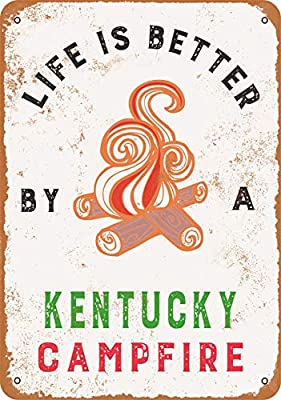 Wall-Color 10 x 14 Metal Sign - Kentucky Campfires are The Best - Vintage Look