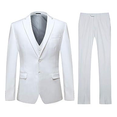 YOUTHUP Costume Homme Formel Slim Fit Elégant Classique Trois-Pièces  d affaire Mariage Veste ae2c0318486