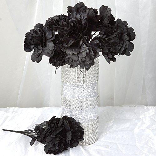 Efavormart 60 pcs Artificial PEONY Flowers for Wedding Arrangements - 12 bushes - Black (Peony Centerpiece)