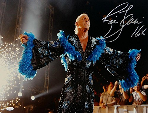 Ric Flair Autographed 16x20 Black and Blue Robe Photo- Witnessed Auth - JSA Certified - Autographed Wrestling -
